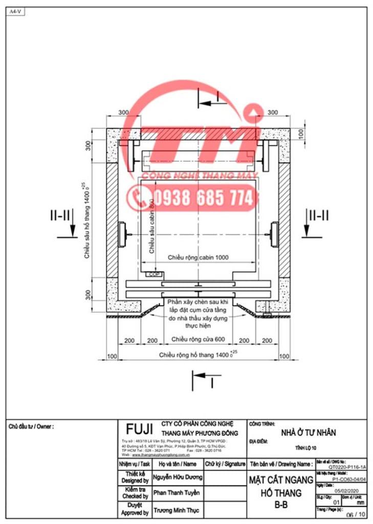 Bản vẽ hố thang máy