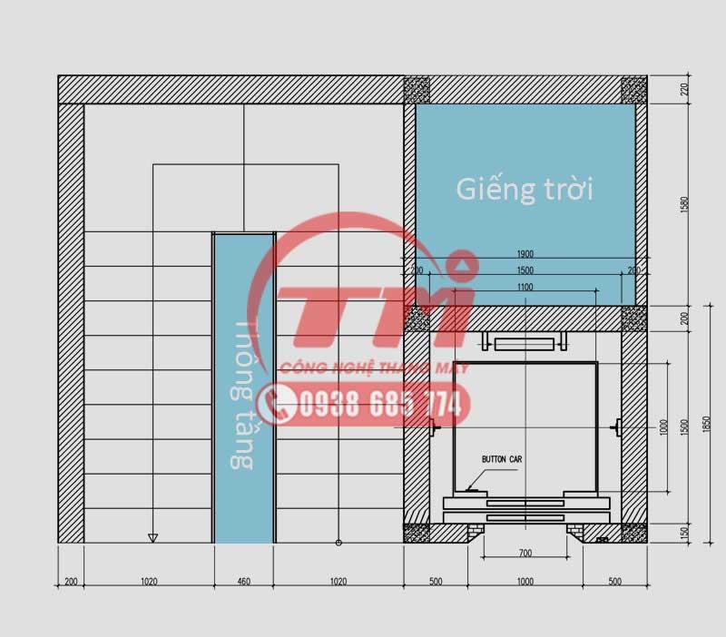 Thang máy nằm cạnh thang bộ thiết kế kèm nhà vệ sinh